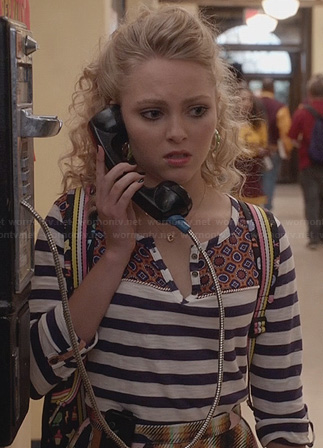 Carrie's striped henley shirt on The Carrie Diaries