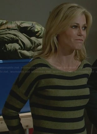 Claire's green and black striped top on Modern Family