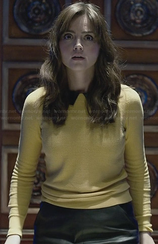 Clara's yellow sweater with leather collar on the Doctor Who Christmas Special