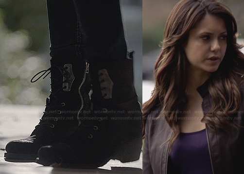 Elena's black combat boots and brown leather jacket on The Vampire Diaries