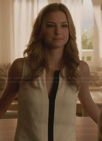 Emily's white top with black placket on Revenge