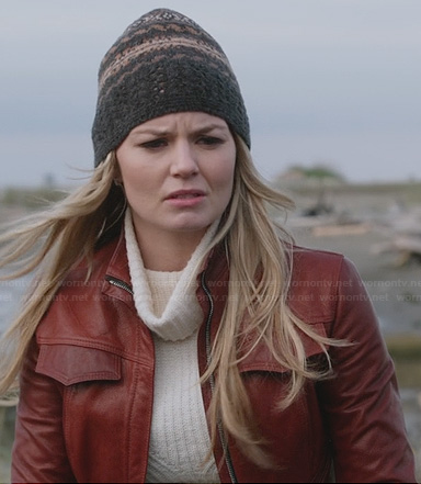 Emma's red leather jacket, ribbed turtleneck sweater and beanie on Once Upon a Time