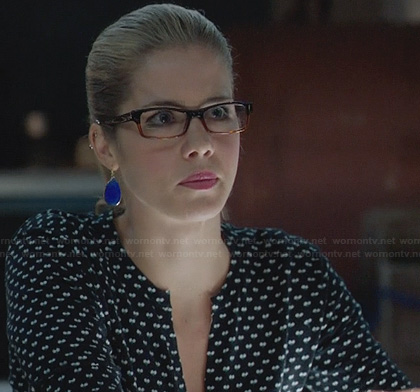 Felicity's navy heart print cardigan on Arrow