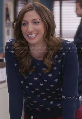 Gina's navy heart print sweater on Brooklyn 99