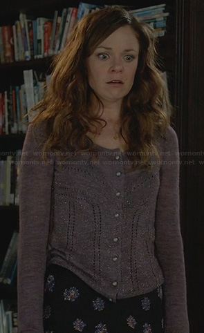 Ingrid's purple cardigan, floral skirt and bird necklace on Witches of East End