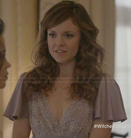 Ingrid's lavender purple embroidered dress at Freya's wedding on Witches of East End