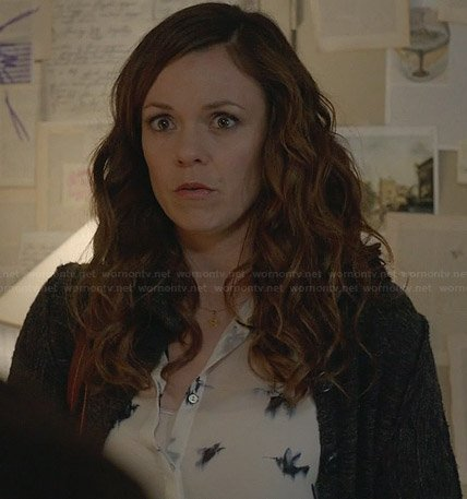 Ingrid's bird print top on Witches of East End