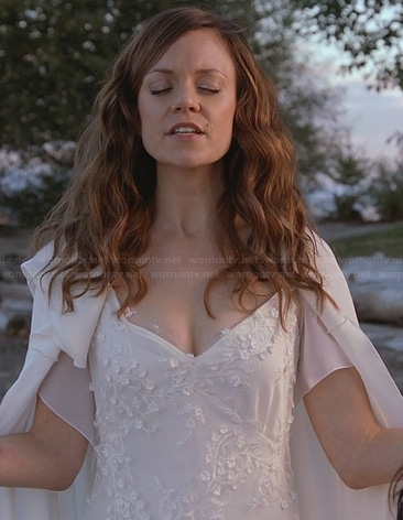Ingrid's white embellished dress on Witches of East End
