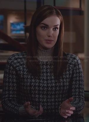 Jemma's brown houndstooth sweater on Agents of SHIELD