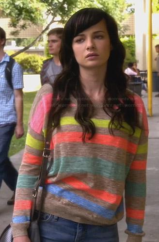 Jenna's beige and neon striped sweater on Awkward