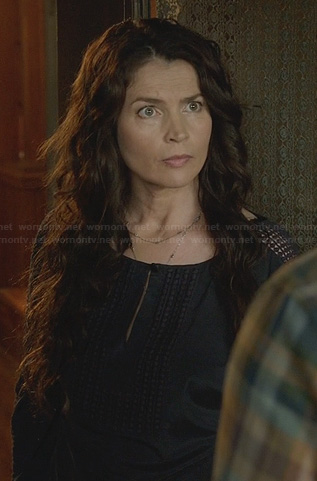 Joanna's black keyhole blouse with eyelet sleeve detail on Witches of East End