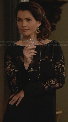 Joanna's black lace inset dress on Witches of East End