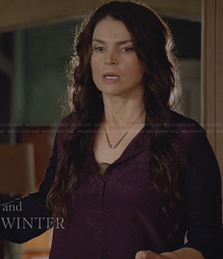 Joanna's purple and navy print top on Witches of East End