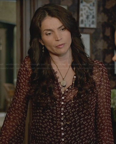 Joanna's red flower printed blouse on Witches of East End
