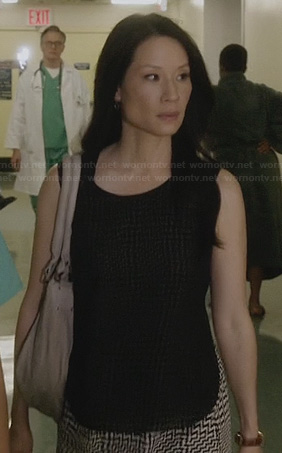 Joan's black and white printed overlay dress on Elementary