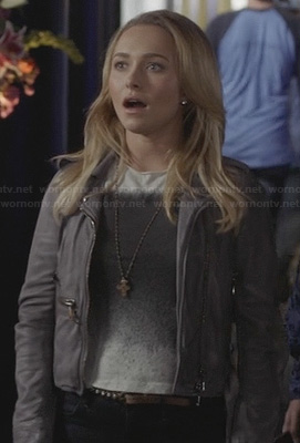 Juliette's black and white square ombre graphic tee and grey leather jacket on Nashville