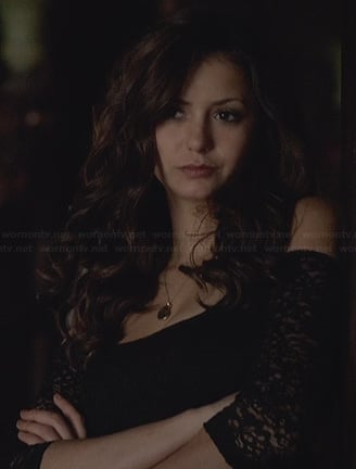 Katherine's black lace top with cutout shoulders on The Vampire Diaries