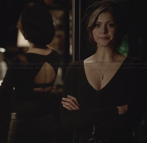 Katherine's black mesh inset top with cutout back on The Vampire Diaries
