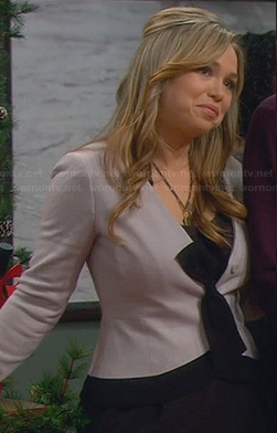 Kristin's purple bow front cardigan on Last Man Standing