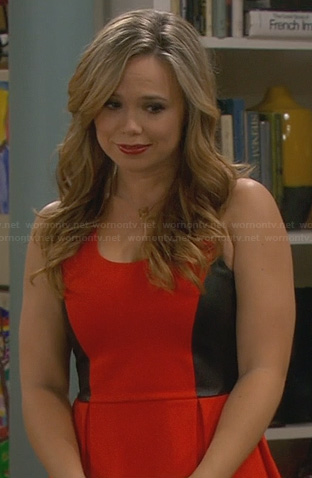 Kristin's red and black leather dress on Last Man Standing