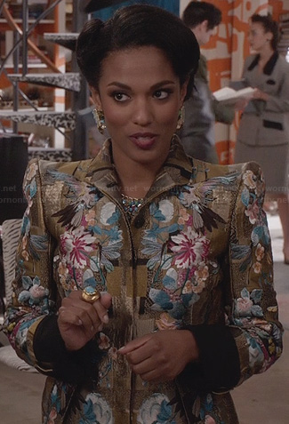 Larissa's gold embroidered jacket on The Carrie Diaries