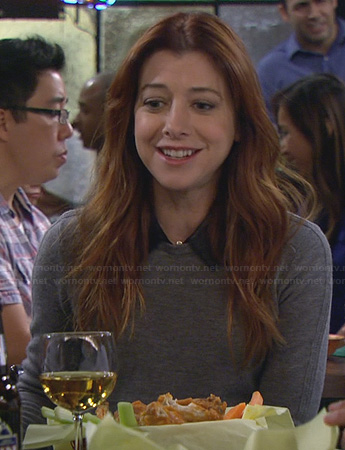 Lily's grey sweater with leather collar on How I Met Your Mother