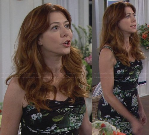 Lily's black and green floral dress on How I Met Your Mother