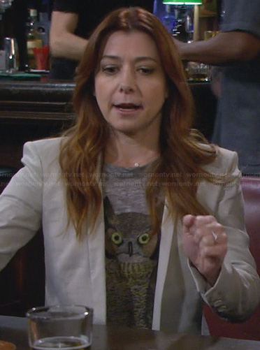Lily's owl top and grey blazer on How I Met Your Mother