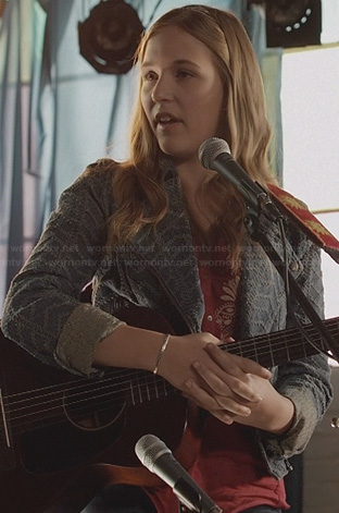 Maddie's denim moto jacket on Nashville