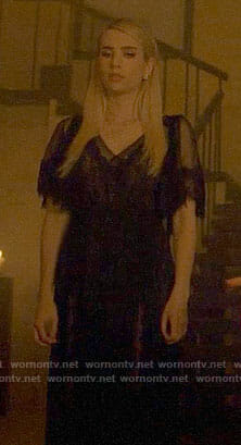 Madison's black lace maxi dress on American Horror Story