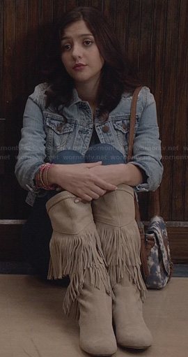 Maggie's cream fringed boots and embroidered denim jacket on The Carrie Diaries