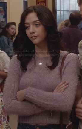 Maggie's purple fluffy cropped sweater on The Carrie Diaries