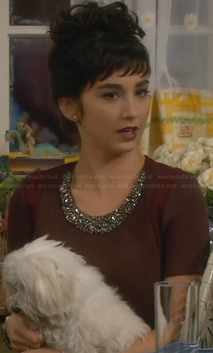 Mandy's brown embellished top on Last Man Standing