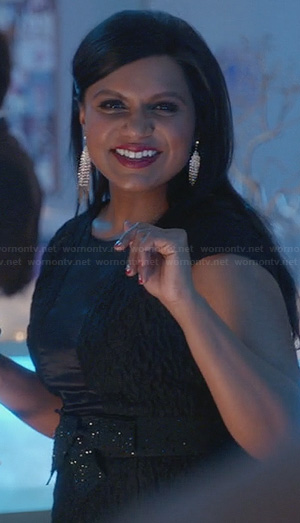 Mindy's black textured dress with sheer front panel on The Mindy Project