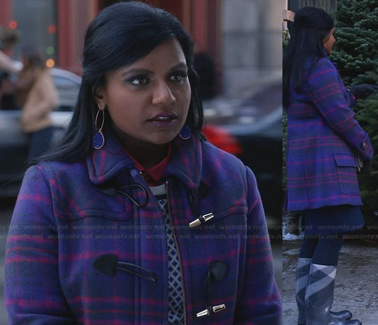 Mindy's purple and pink plaid toggle coat, checked rain boots and blue earrings on The Mindy Project