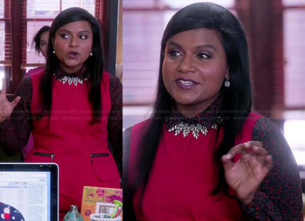 Mindy's red zip pocket playsuit on The Mindy Project