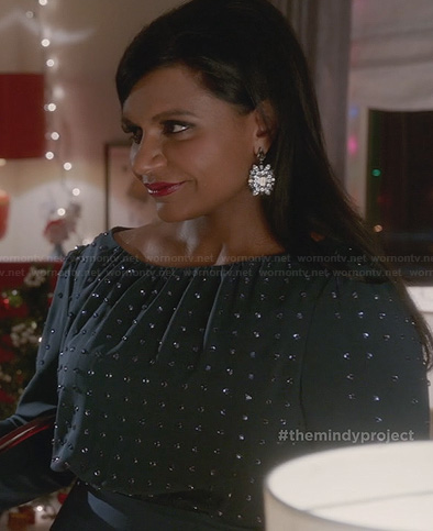 Mindy's teal green christmas party dress on The Mindy Project