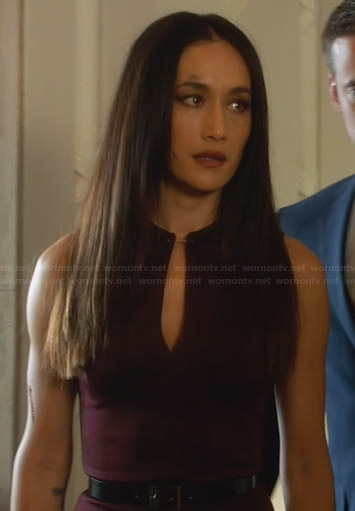 Nikita's burgundy keyhole dress on Nikita