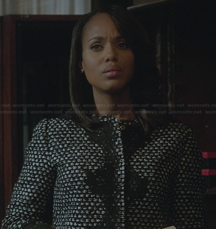 Olivia's boucle and lace jacket on Scandal