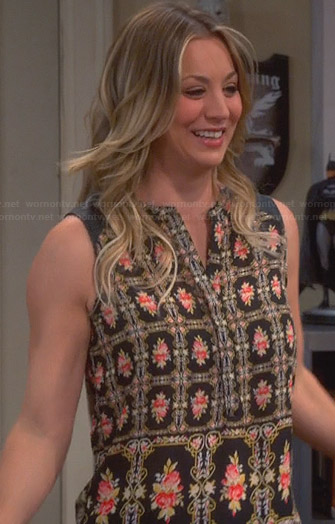 Penny's black floral printed top on The Big Bang Theory