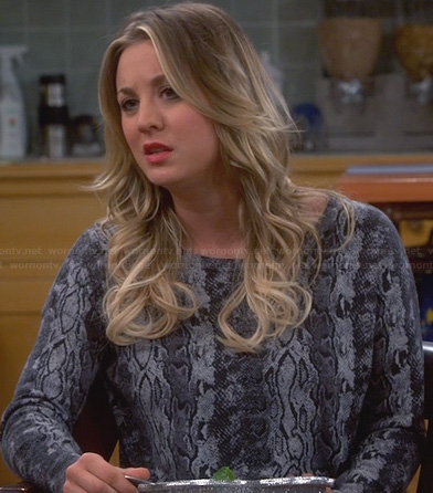 Penny's grey snakeskin print top on The Big Bang Theory