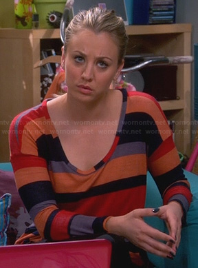 Penny's mixed stripe top on The Big Bang Theory