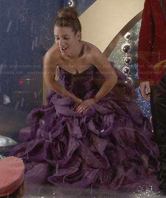 Rachel's purple strapless gown on Glee