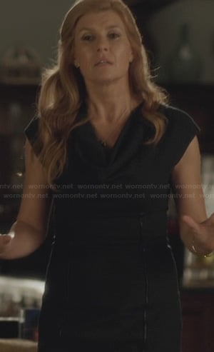 Rayna's black cowl neck dress with leather piping on Nashville