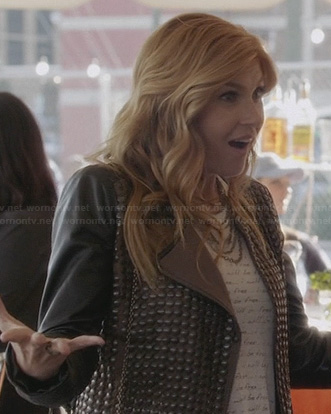 Rayna's black studded jacket with leather sleeves on Nashville