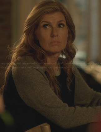 Rayna's blue and grey contrast sleeve sweater on Nashville