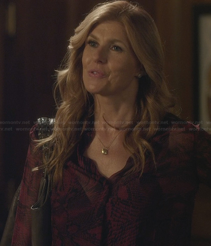 Rayna's red and black sheer printed blouse on Nashville