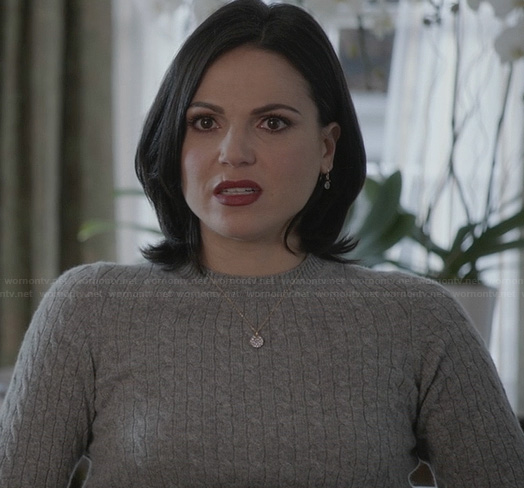 Regina's grey cable knit sweater on Once Upon a Time