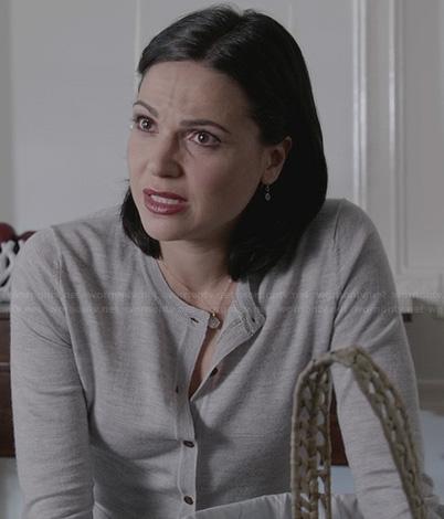 Regina's grey glitterly cardigan on OUAT