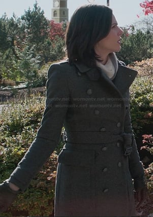 Regina's grey wool trench coat on Once Upon a Time